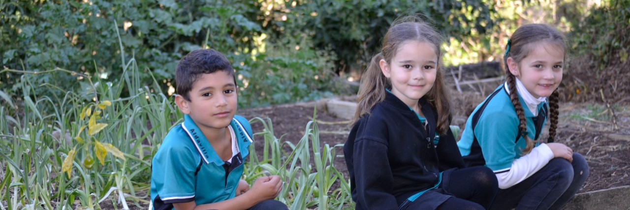 Three kindergarten students in the garden
